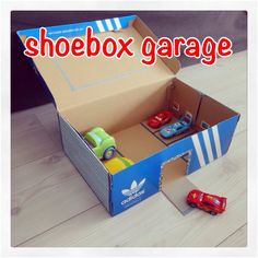 My Pins Crafts: turning a shoebox into a garage - Fun with kids Is your child School Projects, Craft Projects, Diy For Kids, Crafts For Kids, Kids Garage, Waste Art, Homemade Paint, Paper Puppets, Cardboard Crafts