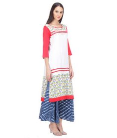 Vivacious White And Red Printed Rayon Kurti.