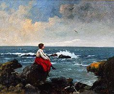 Neogrady Antal - Young woman, sitting at a cliff-lined coast.
