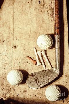 Golf Ball Crafts Old fashioned still life shot of a vintage golfing iron with ornate wooden handle coupled with a set of three golf balls and tees on shabby grunge background. Antique sports by Jorgo Photography - Wall Art Gallery Madara Uchiha, Golf Fotografie, Golf Ball Crafts, Golf Club Crafts, Golf Pictures, Golf Images, Web Images, Fashion Still Life, Golf Photography