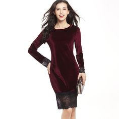 2017 Hot Sale Sexy Dress Fashion Women Lace Patchwork Velvet Full O-neck Hight Waist Long Vestidos Package Hip Ladies Dresses