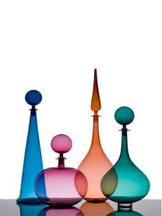 Spicer + Bank: by Allison Egan: Artist Spotlight: Joe Cariati Glass Colored Glass Bottles, Bottles And Jars, Perfume Bottles, Glas Art, Glass Photography, Tall Lamps, Genie Bottle, Glass Collection, Vases