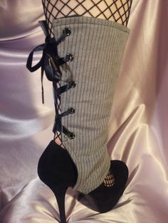 Grey & Black Pin Striped Lace Up Spats. $23.00, via Etsy.