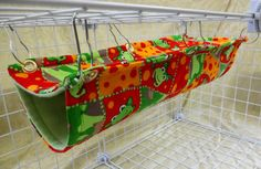 Rat Hammock Extra Long Double Decker Bi Level Hammock Red and Green Frog Pattern