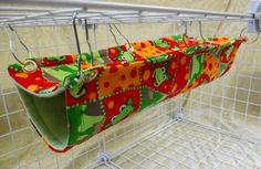Rat Hammock Extra Long Double Decker Bi Level Hammock Red and Green Frog Pattern