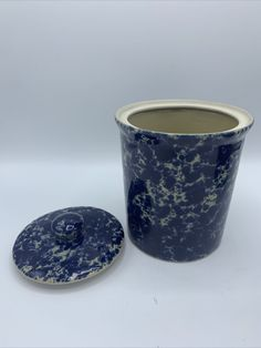 Set Of 2 Bennington Potters Blue Agate Pottery Table Canister With Lid | eBay
