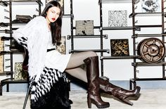 The model wearing Albano's brown boots!