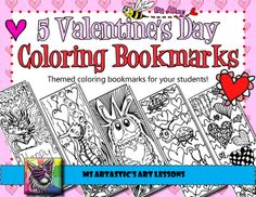 "5 Valentine's Day coloring bookmarks!  5 of my hand drawn, zen, cartoon coloring bookmarks just in time for Valentine's Day! Print, enjoy and check out my other listings such as my Valentine's Day Coloring Sheets!These are great for time savers, to use as an ""early finisher"" activity, or Christmas activity."