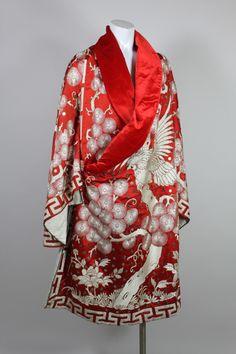 Art Deco Fiery Red Silk Kimono with Falcon Embroidery