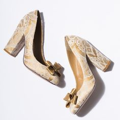 Gold silk and lace block heel