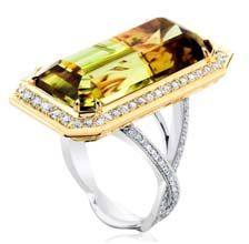 Ring in 18k yellow gold and platinum has 26.80 ct. radiant-cut Zultanite with 1.30 cts. t.w. diamonds; $48,900. David Hrubec/Zultanite cut by award-winning gemstone cutters and brothers Ralph and Rudi Wobito from Ontario, Canada