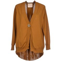 Erika Cavallini Semicouture Cardigan ($140) ❤ liked on Polyvore featuring tops, cardigans, khaki, long sleeve cardigan, v neck cardigan, v-neck tops, cotton v neck cardigan and brown cardigan