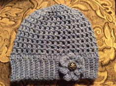 Ladies blue hat with flower Size - Adult Hand crochet in a smoke & pet free environment Acrylic yarn Hand Crochet, Free Crochet, Hat Flower, Beanie Hats, Beanies, Ski Hats, Etsy Handmade, Unique Vintage, Knitted Hats