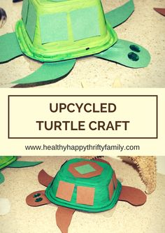 Upcycled Turtle Craft (or Tortoise Craft) - Recycle a Chick-fil-a soup or fruit container - Project for kids and toddlers! #chickfilamomsDIY