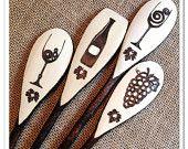Custom Wood Burned Spoons, Wine Theme, set of 4