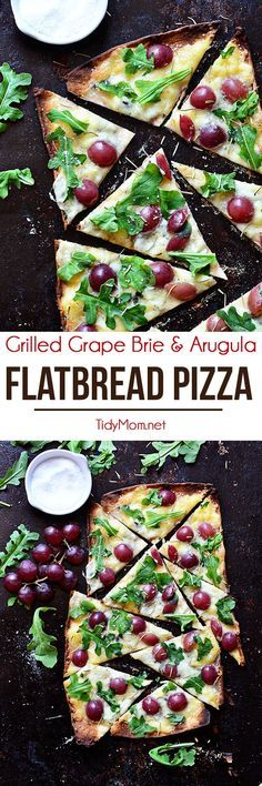 Brie and fruit pair wonderfully together.topping them together on pizza is even more amazing. The cheese is able to melt and the grapes add a burst of sweetness and the thin, grilled crisp crust of the flatbread provides the perfect delivery. Vegetarian Recipes, Cooking Recipes, Healthy Recipes, Vegetarian Grilling, Healthy Grilling, Skillet Recipes, Cooking Gadgets, Casserole Recipes, Pasta Recipes
