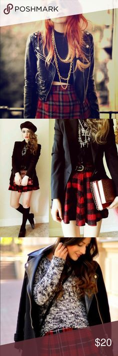 Red Buffalo Plaid Skirt Get the various looks with this great go-to fall/winter piece. Buffalo Plaid is definitely a holiday staple. This piece can be worn by anyone with any style from punk to preppy. This skirt is a must have! The item is in the last photo. Cotton On Skirts Circle & Skater
