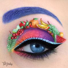Fruity eye! So much fun (and full of vitamins! ) ~~~ MAIN PRODUCTS Eyelid colors: @concreteminerals Fame, @morphebrushes , @colourpopcosmetics Erotic and Dare  Under the lower lashes: Colourpop Erotic, Dare and Rex Eyeliner: black - Morphe brushes gel eyeliner (also in the waterline), light blue - @kryolanofficial watercolor Eyebrow: Kryolan watercolor Fruits: Watercolors by Kryolan, @mehronmakeup and Monaco Cosmetics Mascara: @eyeko black magic False lashes: @eyemimocosmetics NTR35