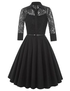 Belle Poque Women Dress Summer 3/4 Sleeve Lace Tunic Work Office 50s Vintage Dresses Plus Size 2017 Black Sexy Club Dresses