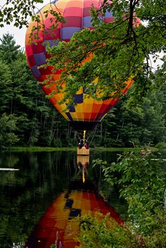 """""""Hot Air Balloon Festival, Pittsfield, NH"""" by Dennis Sheehy on Flickr - The best photos were of balloons close to the river, where there was more color available.  Pittsfield, New Hampshire"""