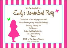 Alice in Wonderland INVITATIONS  Bright 5x7   by poshtique on Etsy, $8.00