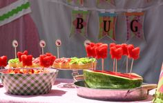 Bugs and butterflies- a good theme for a boy and girl to share birthday party