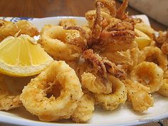 Lemon-Pepper Calamari- one of my favourites from the Greek Islands, all that is missing is a glass of chilled Ouzo.
