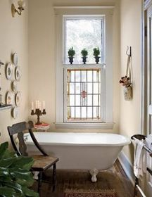 French Country Style: Bathrooms I love the window and tub!!