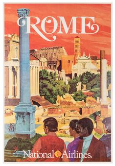 Buy online, view images and see past prices for National Airlines Original Poster by Bill Simon - Rome. Invaluable is the world's largest marketplace for art, antiques, and collectibles. Airline Travel, Rome Travel, Vintage Travel Posters, Vintage Airline, Rome City, National Airlines, Roman Forum, Air France, The Originals