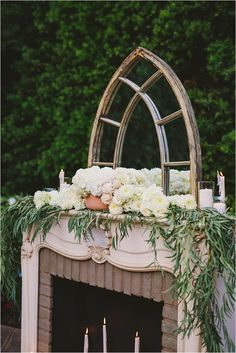 Fireplace. Gothic mirror. Floral garland. Candles. Southern California Bride: Romantic and Elegant Blue Franciscan Gardens Wedding Inspirational Shoot