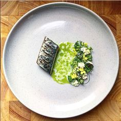 Cured and charred blue mackerel with garden vegetables, whey sauce & fresh ricotta. Dish uploaded by Gourmet Food Plating, Posh Nosh, Gourmet Recipes, Cooking Recipes, Mackerel Recipes, Modernist Cuisine, Hotel Food, Restaurants, Food Design