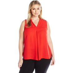 Vince Camuto Women's Plus Size Sleeveless V-Neck Blouse with Inverted Front Pleat featuring polyvore, women's fashion, clothing, tops, blouses, plus size, sleeveless blouse, women's plus size blouses, v neck sleeveless top, plus size v neck tops and red sleeveless blouse
