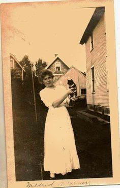 Antique Vintage Photograph Woman Holding Kitten Cat Out in The Yard