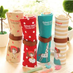 Cute Kawaii Cartoon Canvas Roll Pencil Case Lovely Fabric Roller Girl Pen Bag for Kids School Supplies Free shipping 116