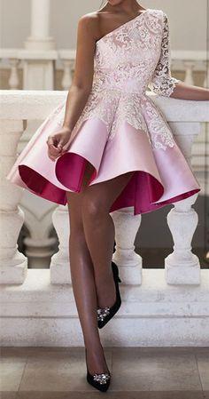 Short Homecoming Dresses,one Shoulder Homecoming Dresses,lace Homecoming Dresses,short Pink Prom Dresses For Teens Pretty Dresses, Beautiful Dresses, Glamorous Dresses, Gorgeous Dress, Beautiful Ladies, Stylish Dresses, Stylish Outfits, Lace Homecoming Dresses, Graduation Dresses