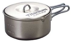 Evernew Titanium Non-Stick Pot, 0.9-Liter || Seems to be a great lightweight option to use with an alcohol-burning stove