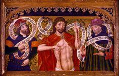 """""""Cristo de Piedad con David y Jeremías"""", Diego de la Cruz, Óleo sobre tabla, 60,5 x 93,5 x 4,5 cm, 1500"""