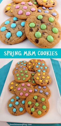 Our Spring M&M Cookies are soft, chewy, chock full of chocolate and taste as good as they look. An easy and colorful dessert for Easter, Mother's Day or a Spring Brunch. For more dessert ideas, follow us at https://www.pinterest.com/2SistersCraft/