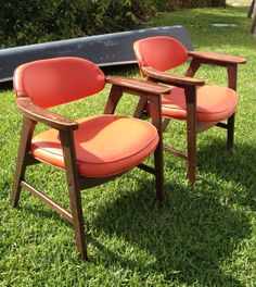 Orange Chairs Office Nailhead Orange Mid Century Modern Chairs At Modern  Logic By Modernlogic On Etsy