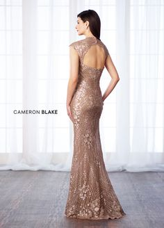 mon cheri bridals 217632 - Sequin lace and chiffon fit and flare gown with cap sleeves, Queen Anne neckline, dropped waistline, keyhole back, scalloped hem.
