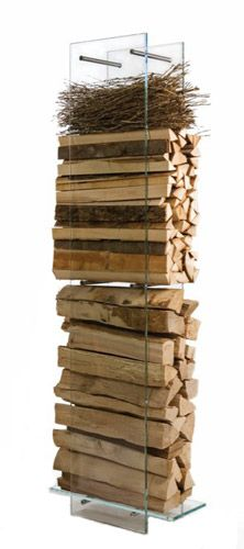 Glass, Modern Log Holders: Vision Modern Firewood Holder with FREE Shipping!