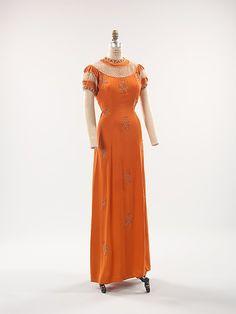 Evening dress Designer: Elsa Schiaparelli (Italian, 1890–1973) Date: summer 1939 Culture: French Medium: silk, synthetic, rhinestones, metal