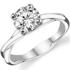 Round Moissanite Designer Inspired Twisted Solitaire Ring