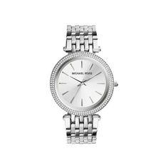 Michael Kors Darci Silver-Tone Watch, Silver ($250) ❤ liked on Polyvore featuring jewelry, watches, michael kors jewelry, bezel watches, silver jewellery, silver wrist watch and silver jewelry