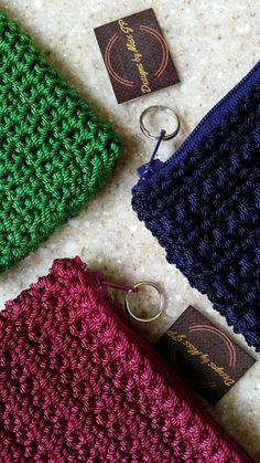 Coin Purse Pouch Bag crochet green navy purple by DesignsbyMissJP