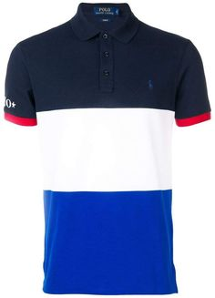 Blue and white cotton colour blocked T-shirt from Polo Ralph Lauren featuring short sleeves, a classic collar and a panelled colour block design. Cheap Ralph Lauren Polo, Ralph Lauren Store, Polo Rugby Shirt, Polo T Shirts, Men's Polo, Tartan Men, Camisa Polo, Dress With Boots, Men Dress