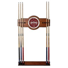 Trademark Global, Inc. Mississippi State University Wood and Mirror Wall Cue Rack