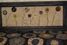 primitive folk art fall autumn flower button by thecraftyfarmhouse, $8.00