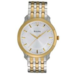 Bulova 98A121 Men's Dress Two Tone Gold Plated Stainless Steel White Dial Quartz Watch