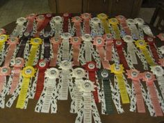Vintage-Lot-of-77-Horse-Show-Ribbons-1969-1974-Large-Medallion-Place-Award-Prize